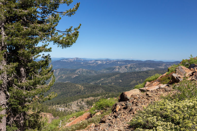 On the final ascent up Sierra Buttes, you can even see the snowy top of Mount Shasta
