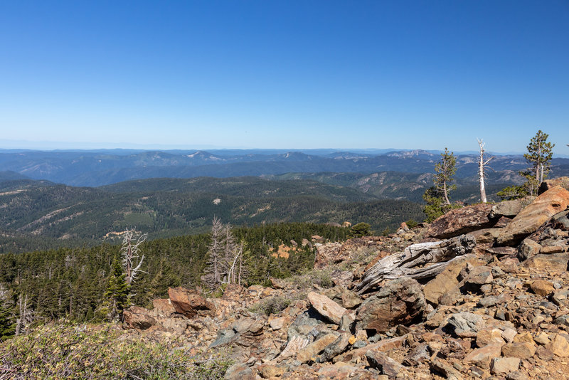 Far reaching views from the rocky top of Sierra Buttes