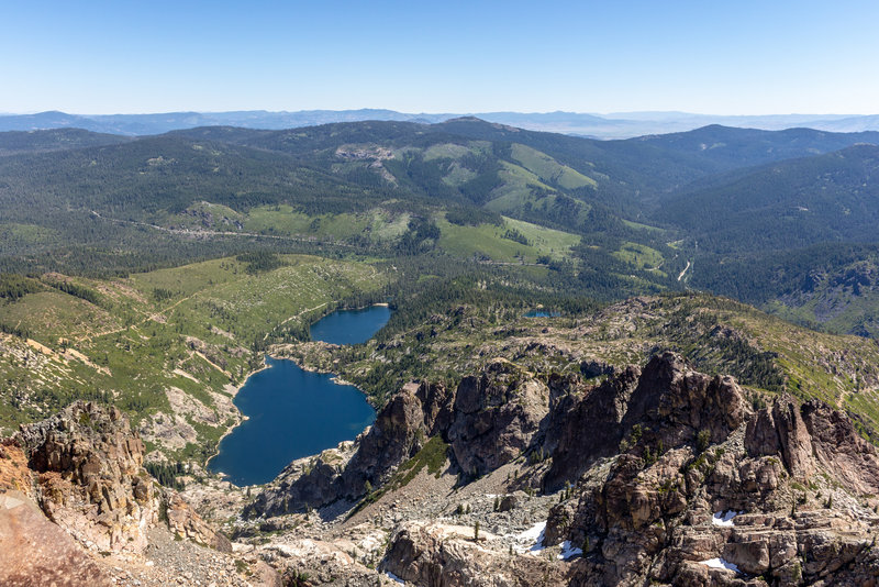 Upper and Lower Sardine Lake from Sierra Buttes Fire Lookout.
