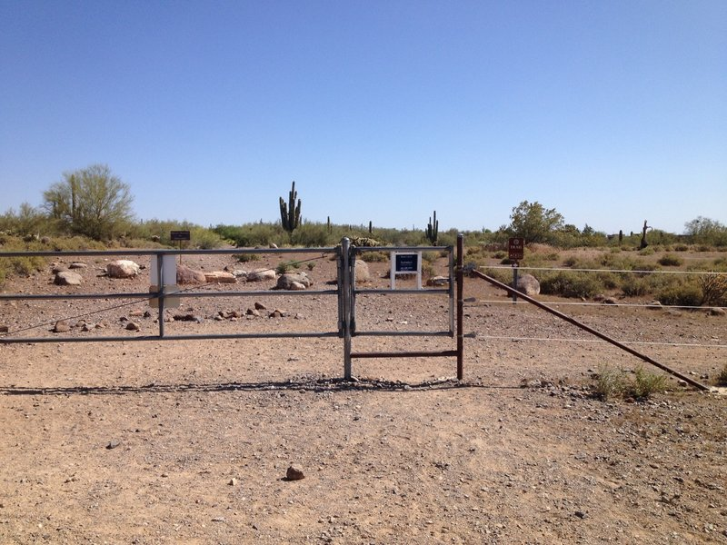 Gate at the south entrance to Desert Foothills Land Trust preserve. Turn right after the gate and follow Town of Cave Creek Trail signs
