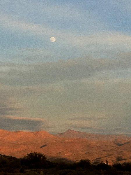 Moonrise Over Desert Foothills