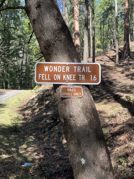 Sign 1.7 miles up FS Road 2060 to Wonder Trail.
