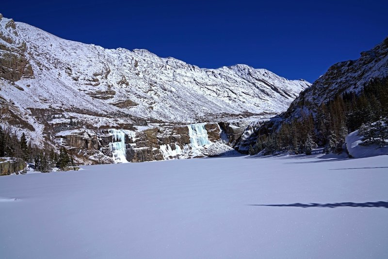 Willow Lake (main lake; a smaller one is higher up) in February, 2018. Notice that the waterfalls freeze in vivid colors, blues and greens.