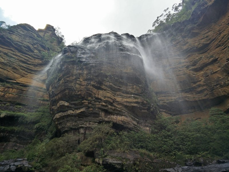 At the base of Upper Wentworth Falls