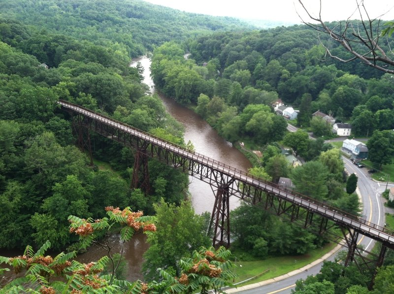 The Rosendale Trestle on the Wallkill Valley Rail Trail as seen from atop Joppenburgh Mountain in Rosendale. When built is was the highest bridge in the United States. The Joppenburgh Mountain trail is accessible from the parking lot behind Main Street in