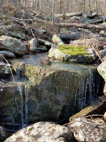 Cascade/small waterfall on seasonal creek along Bixhoma Bluff Trail