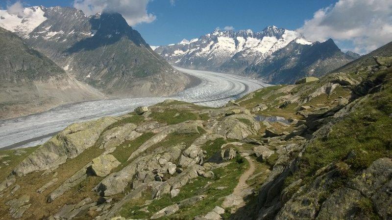 Aletch glacier with the rocky trail