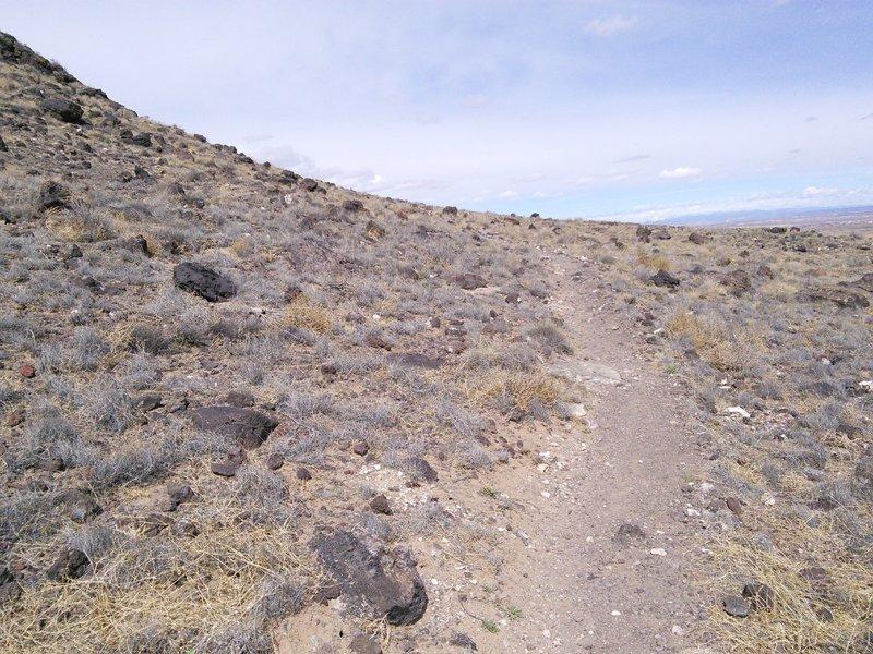 "Singletrack winding around the east side of ""Vulcan"" volcano"