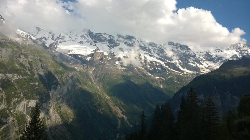 Jungfrau and Monch in clouds,  Eiger on the right