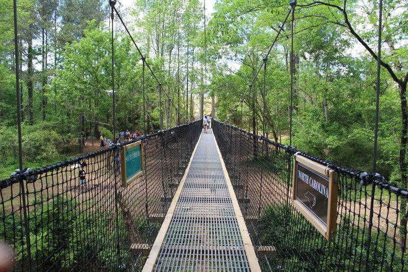 170-ft suspension bridge across Twelve Mile Creek and NC/SC line