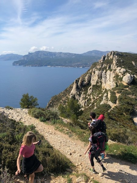 Backpacking the Trail des Cretes. Some in a frilly dress. It's France.
