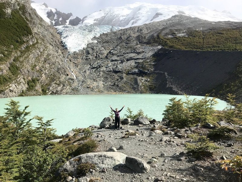Incredible color of lake in front of Glacier Huemul. Amazing!