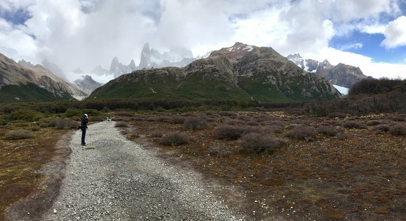 Fitz Roy in the clouds but the scenery is spectacular