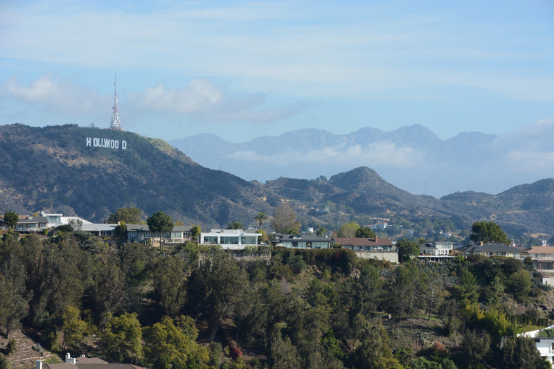 Hollywood sign and distant mountains from Runyon Canyon