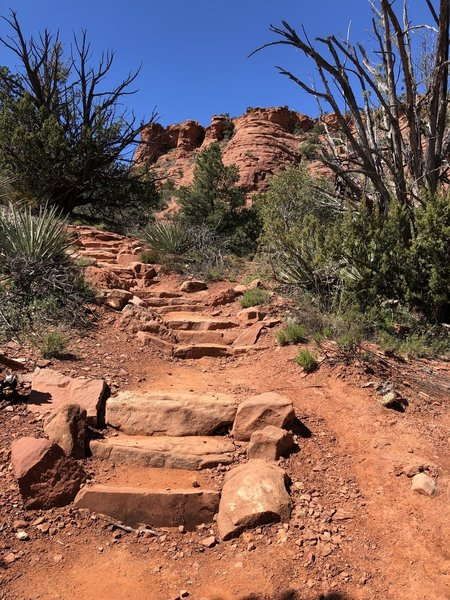 In spring, this is a decent trail. Zero shade. Lots of ups and downs & nice views of Sedona. It would be sweltering in summer.