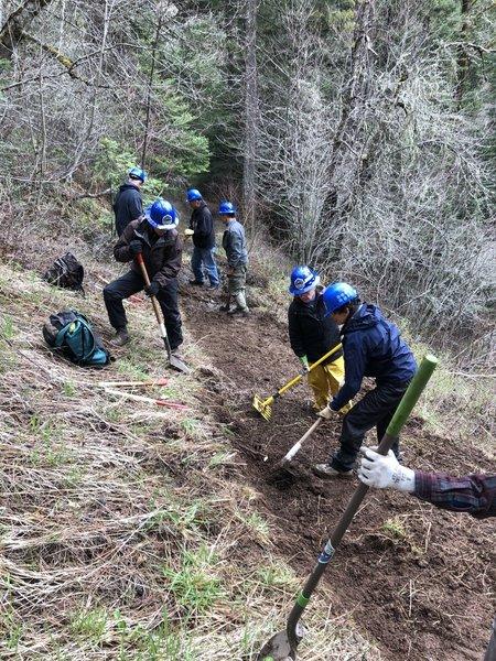 Blues Crew work party repairing trail tread