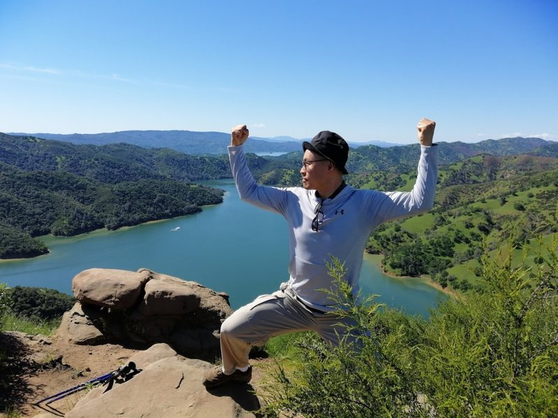 Under Armour posture for the beautiful Lake Berryessa