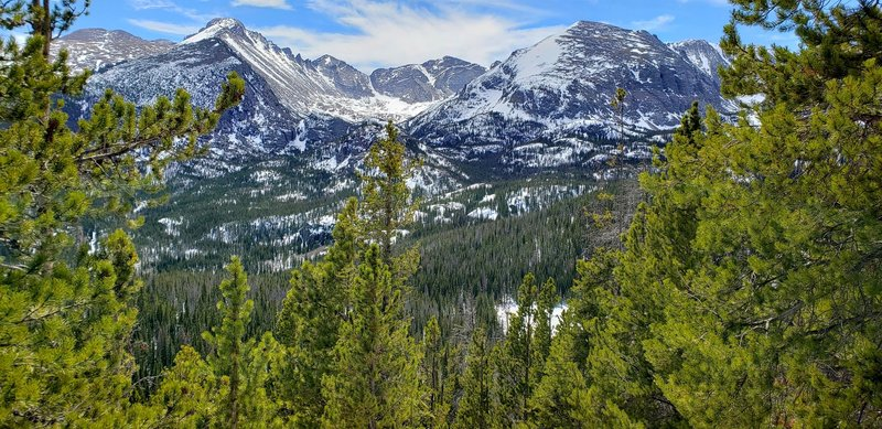 View of Glacier Gorge and Longs Peak from the trail