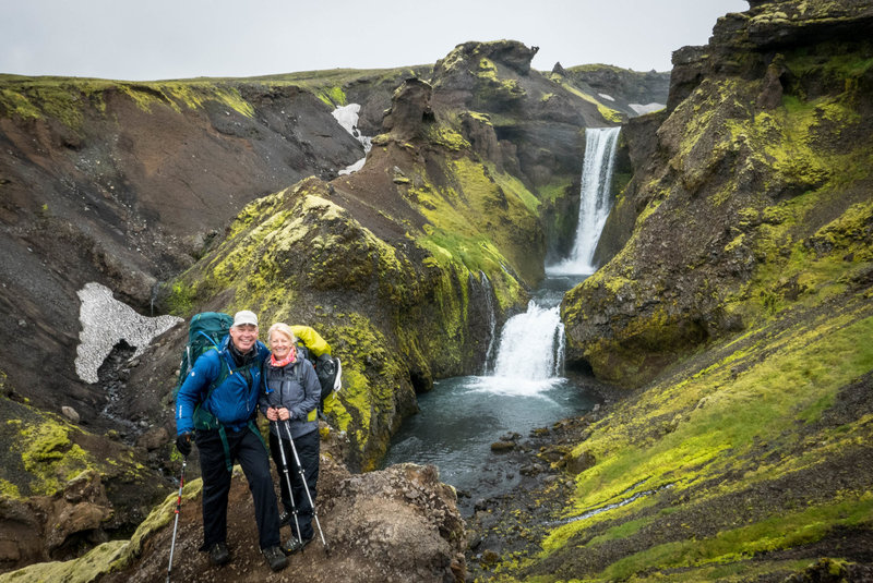 One of the first waterfalls on the way down to Skogafoss is one of the best. Probably 25 different falls on the way to the big one.  Each one unique.  This is a must-do section of the trail and can be easily hiked from Skogafoss.