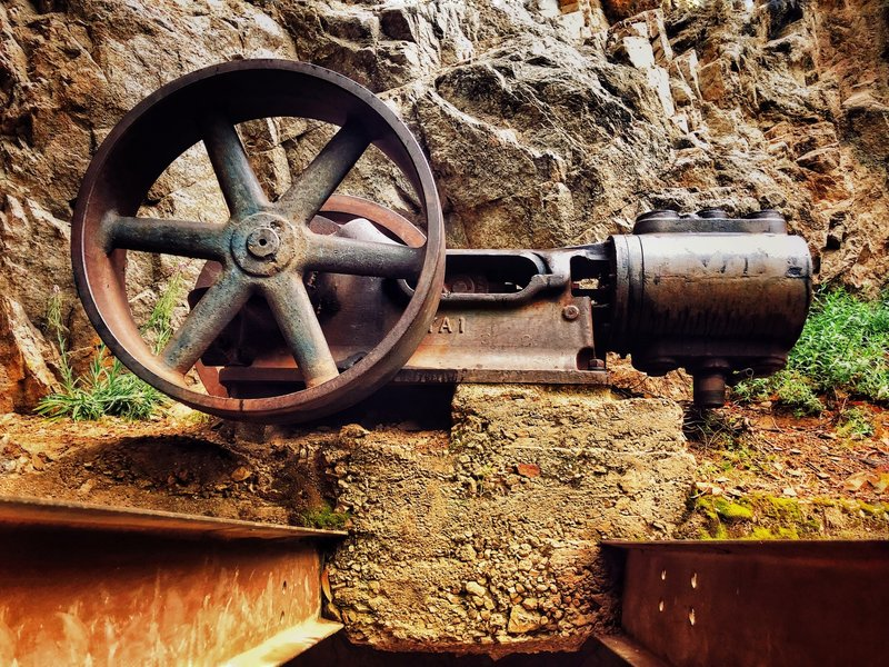 Old mining engine that once delivered gold from Dawn mine