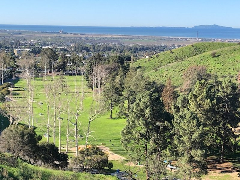 The view of Arroyo Verde Park from the back trail. The Pacific Ocean and Anacapa Island are in the distance.