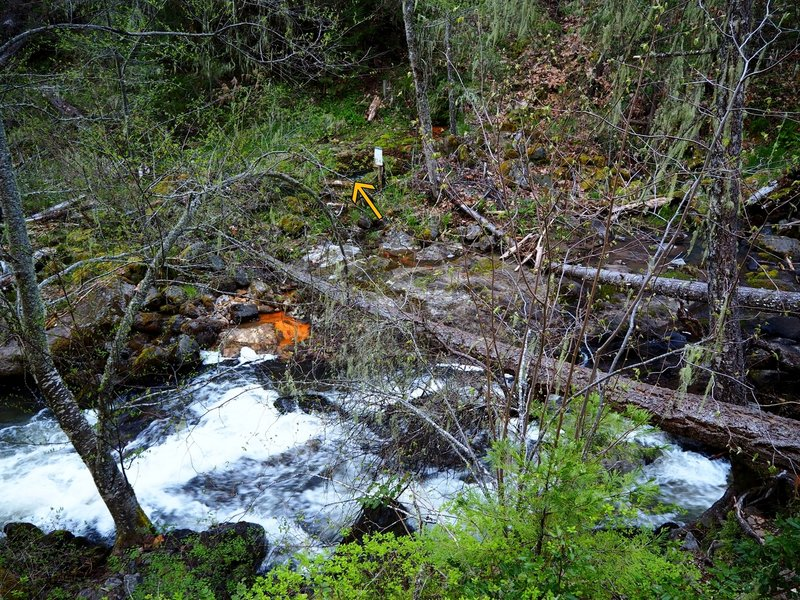 The upper crossing of Dead Indian Creek (arrow marks continuation of the trail)