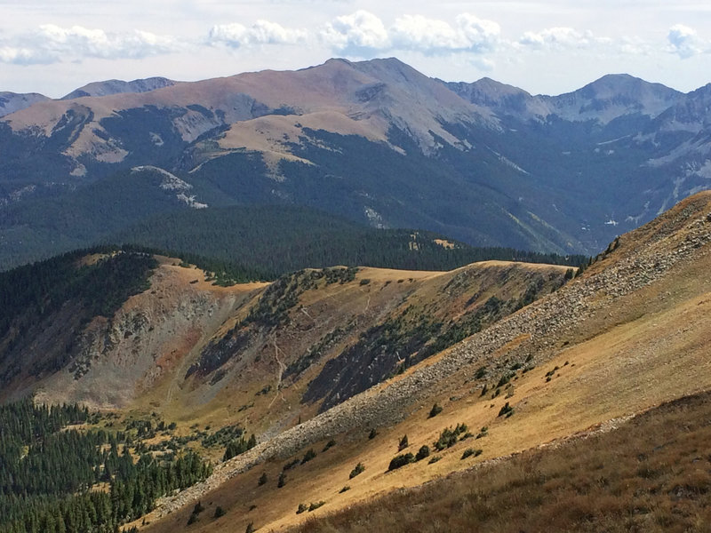 Looking at Wheeler Peak (highest point in NM) and the Wheeler Wilderness. The trail you see here is the Goose Lake Trail.