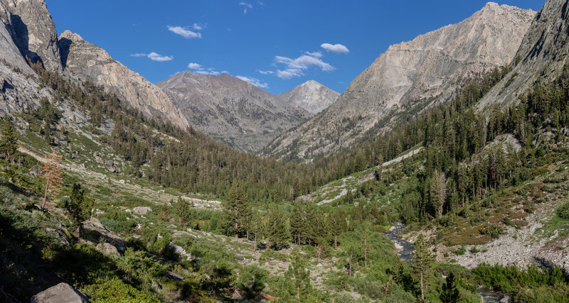 View east following Woods Creek up to the John Muir Trail