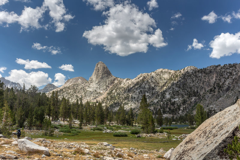 Fin Dome dominates the view as you enter the Rae Lakes Basin.