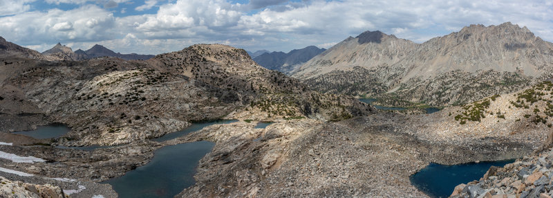 View from the final ascent to Glen Pass. You can see Diamond Peak and Black Mountains, and get glimpse of the Rae Lakes.