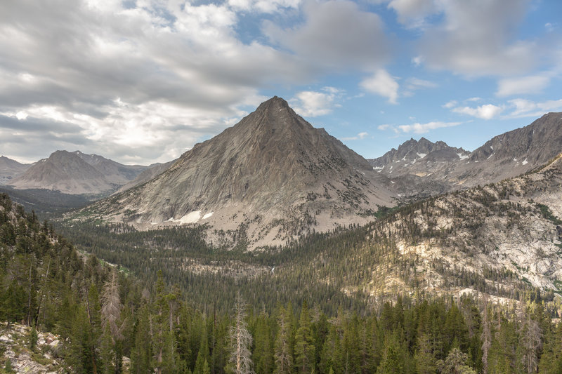 East Vidette from the switchbacks past the junction with Kearsage Pass Trail.