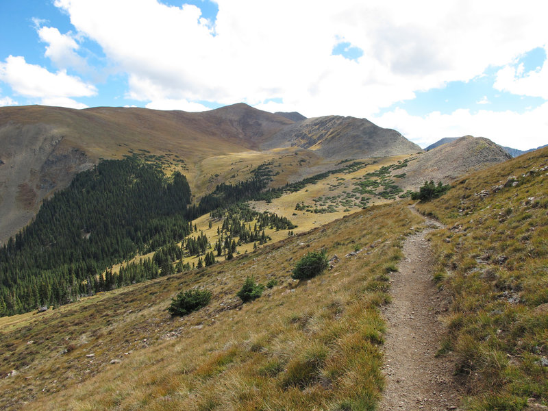 Just past the Wheeler Peak Wilderness sign, this view of Wheeler Peak and La Cal Basin come into view.