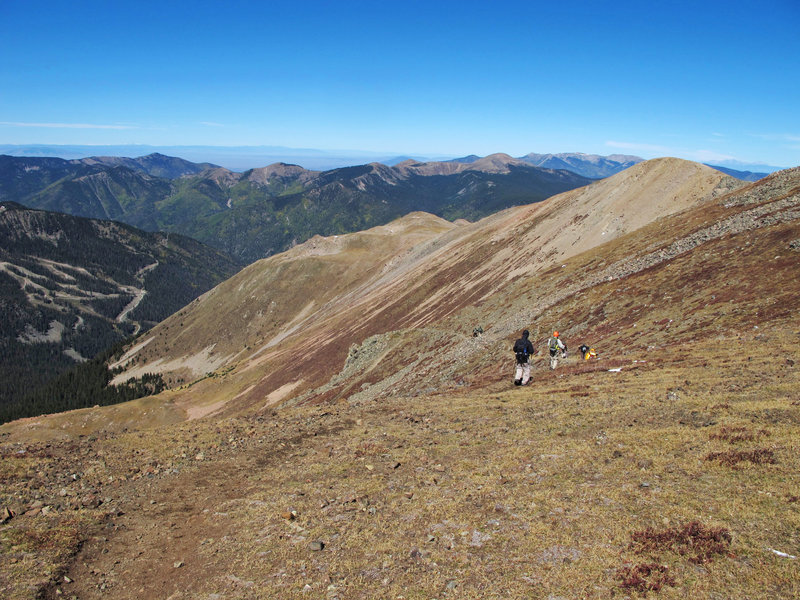 These hikers are heading down the Wheeler Peak Summit Trail from the Wheeler Peak Trail junction.