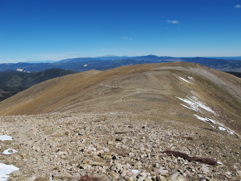 Looking north at the Wheeler Peak Trail and the switchbacks from La Cal Basin.
