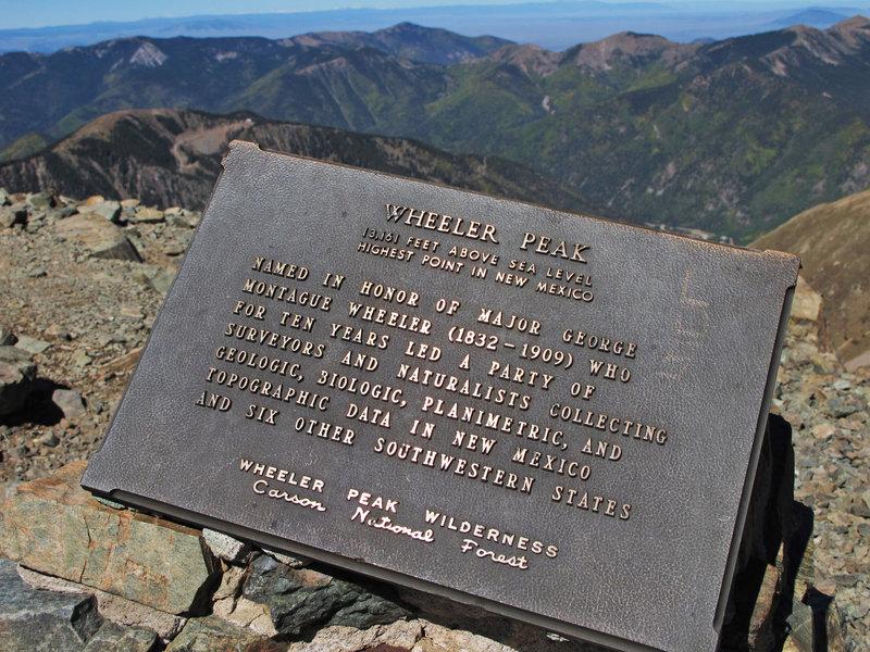 The commemorative plaque at the summit of Wheeler Peak (13,161 ft.).
