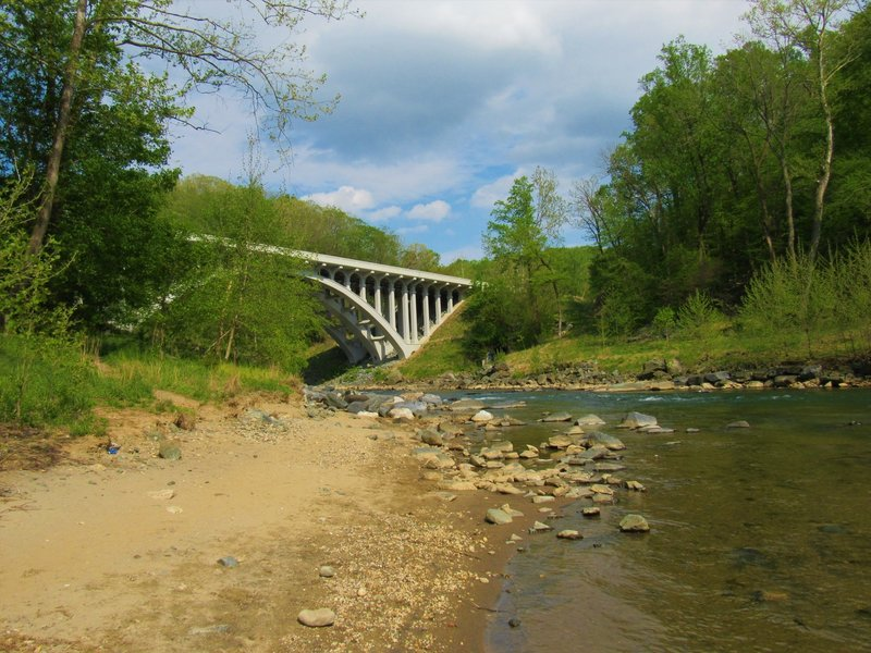 View of Route 40 bridge from base of Union Dam Trail