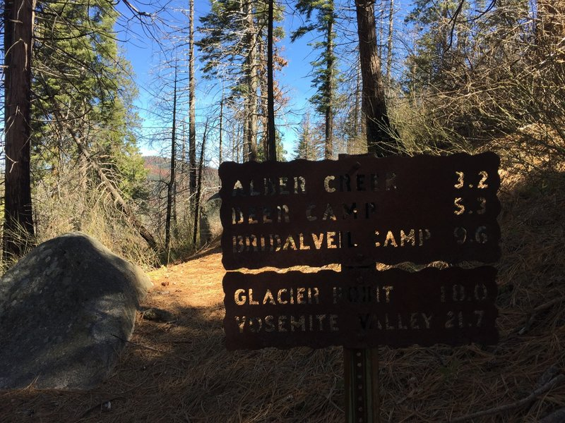 Saddle above Mosquito Creek, junction with trail from Wawona