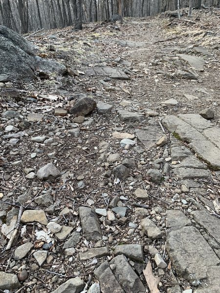 There are some rocks to navigate on the trail.