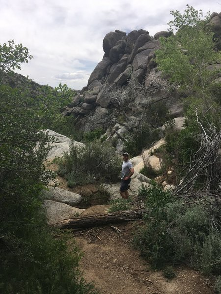 Admiring the giant rocks in the dry river bed.