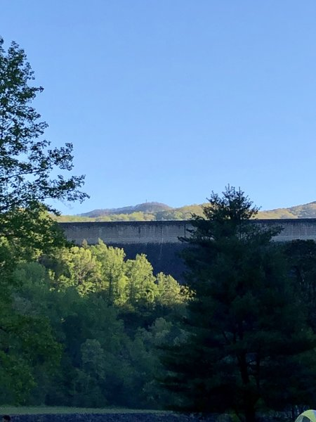 Shuckstack Fire Tower (in the middle of the picture) from the Fontana Dam Campground