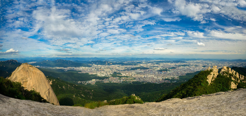 Views of Seoul from above, Insubong on the left