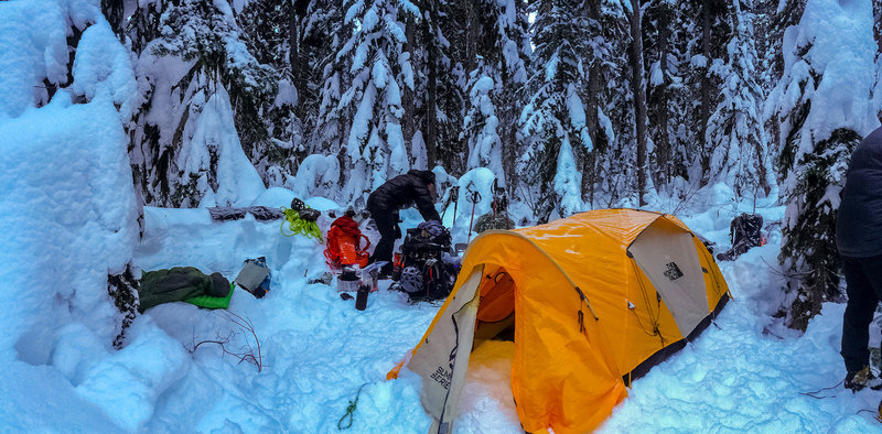 Winter Camping in the backcountry in the Stuart Range Backcountry