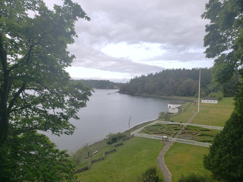View of garden, blockhouse and beachline of English Camp coming down from the old Commanders House location.