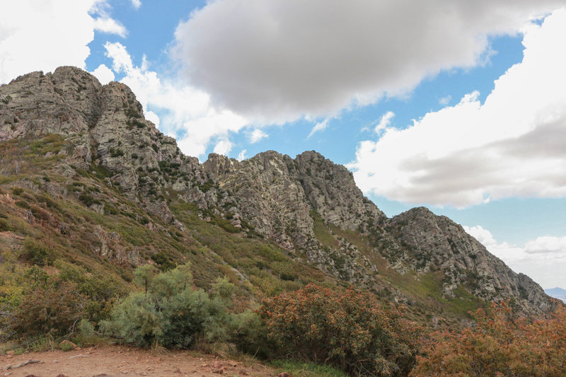 view from trail of 4 peaks rocks, trail splits in two directions, across the front or up the shoot (on the left peak).