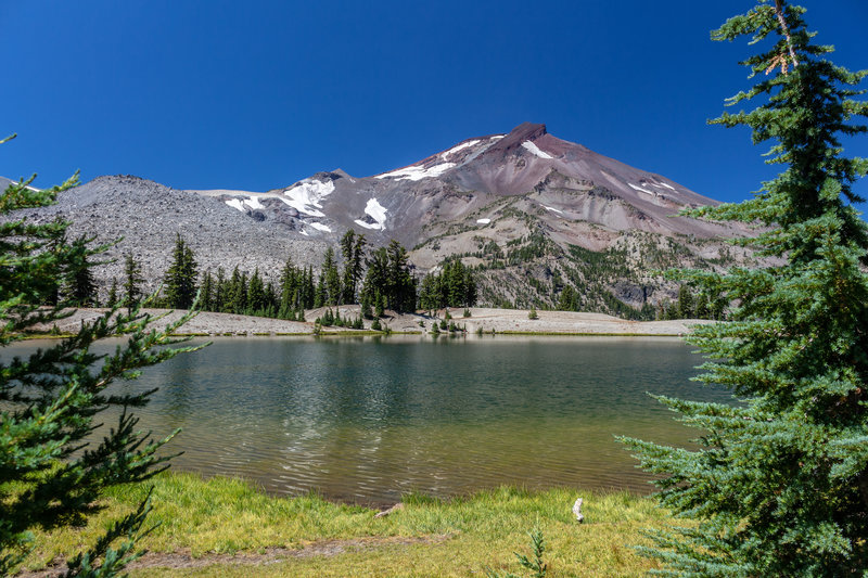A peaceful spot overlooking Green Lakes with South Sister in the background
