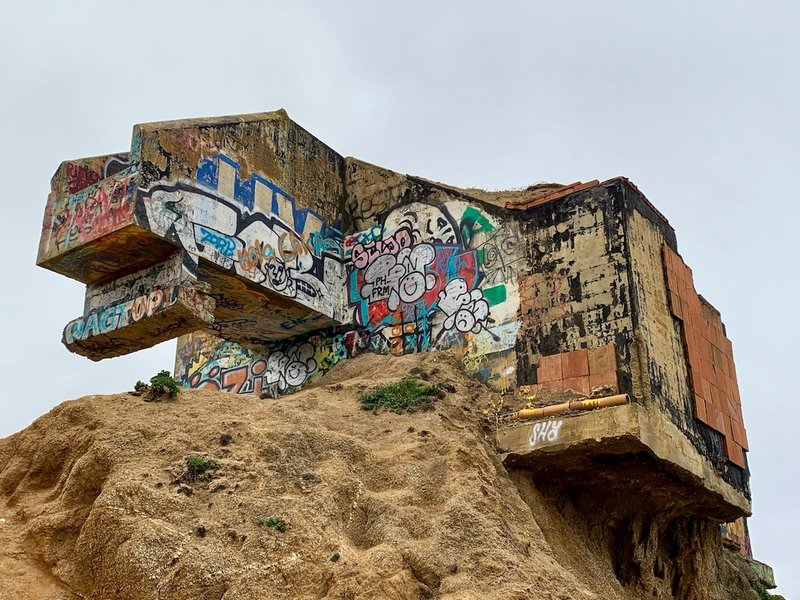 A short stroll south of the trail's southern end stands the remains of a WWII-era bunker. Today it's as much an art show as a historic site.