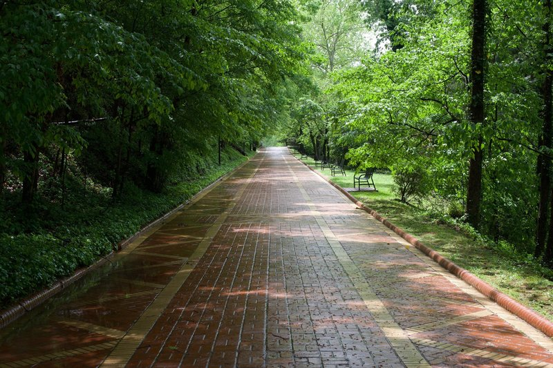 The Grand Promenade is a paved trail that runs behind bathhouse row.