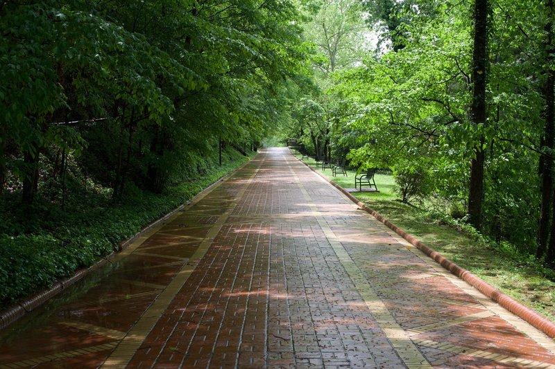 The Grand Promenade is a paved trail that runs behind bathhouse row.