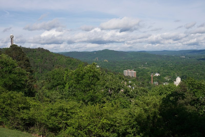 A view from the West Mountain Trail above Hot Springs. You can see the Hot Springs Tower on Hot Springs Mountain.