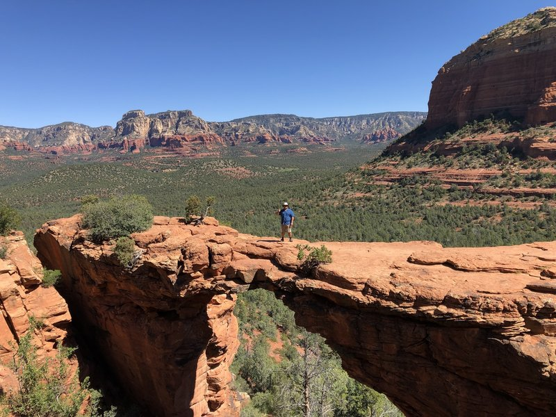 Standing in the middle of Devil's Bridge itself.